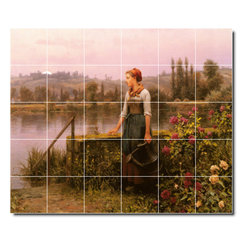 Picture-Tiles, LLC - A Woman With A Watering Can By The River Tile Mural By Daniel Ridgway - * MURAL SIZE: 60x72 inch tile mural using (30) 12x12 ceramic tiles-satin finish.