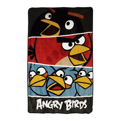 Jay Franco and Sons - Angry Birds Twin Plush Blanket Bold Colors Bed Cover - Features: