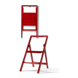 Design House Stockholm - STEP MINI - Lacquered Step Ladder/Folding Chair - Design House Stockholm - Karl Malmvall continues the success of his foldable step ladder with a folding chair that also can be used as a step stool. Like its larger cousin, the Step Mini folding chair is supplied with a specially designed hook for wall-mounting, allowing it to always be within reach.