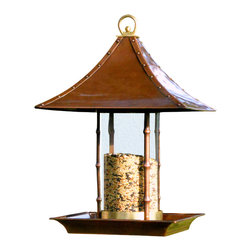 H Potter - Bamboo Bird Feeder - It's like a Hibachi grill table for the well-feathered set. From the coppery pagoda-shaped roof and bamboo-like supports to the wide perch and solid brass accents, this feeder is a cut above the rest. Fill the glass canister with savory seed, sit back in your house and watch the show.
