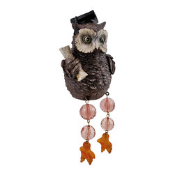 Zeckos - Owl Graduate Dangler Shelf Sitter with Jointed Bead Legs - Add a unique accent to any shelf or desk in your home or office with this darling dangler. It features an owl graduate, with cap and diploma, and has jointed bead legs that dangle over the edge. It measures 6 inches tall, 3 1/4 inches long, and 4 1/2 inches wide. It is made of cold cast resin and hand painted. This piece is a great gift teachers and students and is sure to start a conversation.