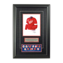 "Heritage Sports Art - Original art of the NHL 1954-55 Detroit Red Wings jersey - This beautifully framed piece features an original piece of watercolor artwork glass-framed in an attractive two inch wide black resin frame with a double mat. The outer dimensions of the framed piece are approximately 17"" wide x 24.5"" high, although the exact size will vary according to the size of the original piece of art. At the core of the framed piece is the actual piece of original artwork as painted by the artist on textured 100% rag, water-marked watercolor paper. In many cases the original artwork has handwritten notes in pencil from the artist. Simply put, this is beautiful, one-of-a-kind artwork. The outer mat is a rich textured black acid-free mat with a decorative inset white v-groove, while the inner mat is a complimentary colored acid-free mat reflecting one of the team's primary colors. The image of this framed piece shows the mat color that we use (Red). Beneath the artwork is a silver plate with black text describing the original artwork. The text for this piece will read: This original, one-of-a-kind watercolor painting of the 1954-55 Detroit Red Wings jersey is the original artwork that was used in the creation of this Detroit Red Wings uniform evolution print and tens of thousands of other Detroit Red Wings products that have been sold across North America. This original piece of art was painted by artist Tino Paolini for Maple Leaf Productions Ltd.  1954-55 was a Stanley Cup winning season for the Detroit Red Wings. Beneath the silver plate is a 3"" x 9"" reproduction of a well known, best-selling print that celebrates the history of the team. The print beautifully illustrates the chronological evolution of the team's uniform and shows you how the original art was used in the creation of this print. If you look closely, you will see that the print features the actual artwork being offered for sale. The piece is framed with an extremely high quality framing glass. We have used this glass style for many years with excellent results. We package every piece very carefully in a double layer of bubble wrap and a rigid double-wall cardboard package to avoid breakage at any point during the shipping process, but if damage does occur, we will gladly repair, replace or refund. Please note that all of our products come with a 90 day 100% satisfaction guarantee. Each framed piece also comes with a two page letter signed by Scott Sillcox describing the history behind the art. If there was an extra-special story about your piece of art, that story will be included in the letter. When you receive your framed piece, you should find the letter lightly attached to the front of the framed piece. If you have any questions, at any time, about the actual artwork or about any of the artist's handwritten notes on the artwork, I would love to tell you about them. After placing your order, please click the ""Contact Seller"" button to message me and I will tell you everything I can about your original piece of art. The artists and I spent well over ten years of our lives creating these pieces of original artwork, and in many cases there are stories I can tell you about your actual piece of artwork that might add an extra element of interest in your one-of-a-kind purchase."