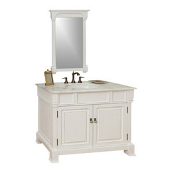 Bellaterra - 42 In Single Sink Vanity - Wood - White - This single vanity will be the keystone of your bath or powder room. The strong classic design commands attention and and speaks volumes about your elegant taste. Constructed of environmentally friendly, zero emissions solid oak wood, engineered to prevent warping and last a lifetime. Top with white marble top, variations in the shading and grain of our natural stone products enhance the individuality of your vanity and ensure that it will be truly unique. Dimension: 42Wx22.5Dx35.5H * ** * Birch* White* White Marble  ** White Ceramic Sink* Antique brass finish hardware* Pre-drilled with 3 holes- 8 in. center faucet, faucet and mirror not included* No Assembly Required. Dimensions: 42 in. x 22.5 in.