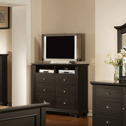 None - Napa Black 6-drawer Media Chest - Material: Hardwoods and MDF Finish: Cottage black finish Color: Black