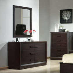 J&M Furniture - J&M Furniture Boston Dresser w/ Mirror in Expresso - Boston Bedroom from J&M Furniture offers alluring designs and colors of the modern bedroom. Furniture presented in these collections will perfectly compliment bedrooms of any size and color theme.  You can buy a complete bedroom set as well as individual items shown in the setting.  J&M Furniture uses plantation grown solid wood throughout their bedroom products  no rainforests are harmed.  The drawers on the casegoods feature oldworld construction with dovetailed joints front and back.  You can rest assured that this furniture is meant to last.