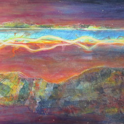 """Dianna Cates Dunn - Antelope Island Sunset - Painting - A mystical moon rise painted on a 20"""" x 60"""" x 2"""" wrapped canvas using acrylic and original collage materials."""