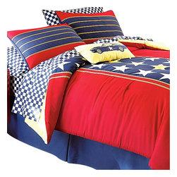 Store51 LLC - Racer Stars Patriotic Queen Comforter Sheets Bedding Set - FEATURES: