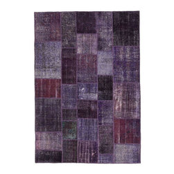 """Pre-owned Deep Purple Overdyed Turkish Patchwork Carpet - Traditional Turkish patterns from an assortment of vintage pieces mix to make this hand made, naturally distressed vintage rug. Full cotton backing and decorative blanket stitch edging.    Remnants of vintage wool on a cotton warp, made entirely by hand in the '60's through '80's when Turkish women still included weaving in their daily homemaking chores. Employing the sturdy double knot technique unique to Turkish rugs, multicolor floral and medallion motifs were created a row at a time using bright hand dyed wools. Considered too old fashioned for modern Turkish homes in their traditional incarnations, these rugs have languished in back rooms of the bazaars‰Ű_until now, as these fragments in excellent condition are overdyed and combined to create modern patchwork statements for the floor.    Note from the seller: """"Our revitalization process keeps rugs that may otherwise get tossed out of landfill. Repurposed discards are helping artisans connect and create, supporting the community we're building here in Istanbul to revive vanishing traditional fiber crafts.‰Űť    Please note that all sales are final - These amazing rugs are coming direct from Istanbul, Turkey and returns will not be allowed."""