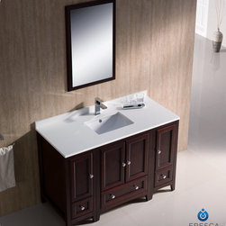 "Fresca - Fresca Oxford 48"" Traditional Single Sink Vanity Set w/ 2 Side Cabinets - Blending clean lines with classic wood, the Fresca Oxford Traditional Bathroom Vanity is a must-have for modern and traditional bathrooms alike. The vanity frame itself features solid wood in a stunning mahogany finish that's sure to stand out in any bathroom and match all interiors. Available in many different finishes and configurations."