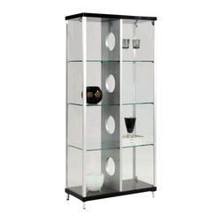 Chintaly - Modern Glass Curio w Center Divider - Two side door with locks. UL lighting. Tempered glass. Silver and black finish. 31.5 in. W x 15.75 in. D x 70.87 in. H