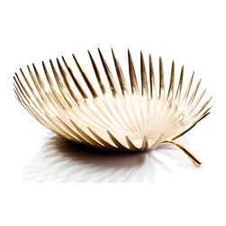 Rojo16 - Brass Date Palm Leaf Bowl - Rojo16 Brunei Date Palm Leaf Bowl is a reflection of every piece we make, delivering both casual elegance and timeless style. Perfect for a striking home decoration. Made to last from brass bowl with palm leaf design. Available in three sizes.