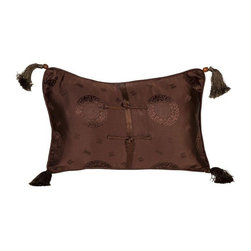 Brown Medallion Silk Brocade 12x18 Pillow - Layering on the perfect throw pillow is the cherry on top for achieving an effortlessly styled effect in your room. This adorable 12x18 brown silk pillow features a subtle medallion design, corner tassels, piping, and a down/feather insert. We have 4 pillows available. If you would like more than one, please contact support@chairish.com.