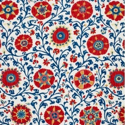 Schumacher - Fergana Embroidery Print Fabric, Prussian - 2 YARD MINIMUM ORDER