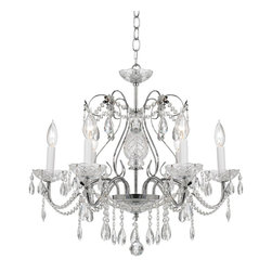 James Moder - 40286S44 James R Moder Impact Regalia - A luxury chandelier design from the Impact division of James R. Moder. It features a beautiful traditional silver finish frame and ceiling canopy. The six arms and body of the chandelier is trimmed with Regal hand-cut and polished crystal droplets. Polished crystal, optical crystal and other crystal elements provide additional accents.