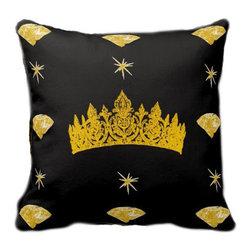 Tomova Jai Designs - Black Queen Of Diamonds Decorative Pillow - Queen of your home?