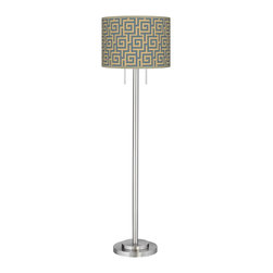 "Giclee Glow - Asian Greek Key Storm Giclee Brushed Nickel Garth Floor Lamp - Brushed nickel finish. Metal construction. Custom made-to-order drum shade. Greek Key Storm giclee printed pattern. Two maximum 100 watt or equivalent bulbs (not included). Pull chain switches. Shade is 18"" wide 12 3/4"" high. 63"" high. 12"" wide base.   Brushed nickel finish.  Metal construction.  Custom made-to-order drum shade.  Greek Key Storm giclee printed pattern.  Two maximum 100 watt or equivalent bulbs (not included).  Pull chain switches.  Shade is 18"" wide 12 3/4"" high.  63"" high.  12"" wide base."