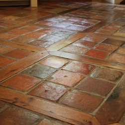 "Charlotte Kitchen Remodel - Reclaimed French Terracotta tiles 6"" square with antique oak pickets"
