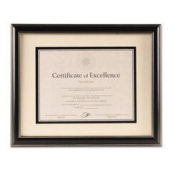 DAX - DAX Document Frame, Black Plastic, 12 3/4 x 15 3/4 - Traditional and classic black document with silver accent lines. Perfect enhancement for any award or certificate. 8 1/2 x 11 includes a two way-easel back with hangers for desktop or wall display; 11 x 14 has hangers for wall display and is double matted (off-white over black mats). Usable certificate included. Can display vertically or horizontally.