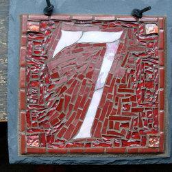 "Nutmeg Designs - Mosaic House Numbers on Slate - Mosaic House Number on slate, stained glass and glass tile, one digit, 8x8""."