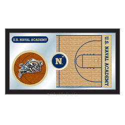 "Holland Bar Stool - Holland Bar Stool US Naval Academy (NAVY) Basketball Mirror - US Naval Academy (NAVY) Basketball Mirror belongs to College Collection by Holland Bar Stool The perfect way to show your school pride, our basketball Mirror displays your school's symbols with a style that fits any setting.  With it's simple but elegant design, colors burst through the 1/8"" thick glass and are highlighted by the mirrored accents.  Framed with a black, 1 1/4 wrapped wood frame with saw tooth hangers, this 15""(H) x 26""(W) mirror is ideal for your office, garage, or any room of the house.  Whether purchasing as a gift for a recent grad, sports superfan, or for yourself, you can take satisfaction knowing you're buying a mirror that is proudly Made in the USA by Holland Bar Stool Company, Holland, MI.   Mirror (1)"