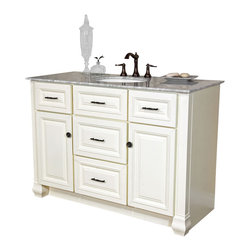 "Bella Terra - Bellaterra 50"" Single Sink Vanity in Antiwhite - A Solid wood construction matched with an elegant, traditional design makes this single bathroom vanity a perfect fit to your sophisticated taste. This cabinet features a rope insert raised door and drawer panels in a neutral cream white finish. All of the drawer glides and door hinges are outfitted with soft closing mechanisms, so that you will never hear a door slam again. With precise furniture quality integrated rabbet Joinery and a high quality commercial glue, this cabinet is a sturdy and long lasting feature. In addition, it has mechanical fasteners that give it optimal strength and stableness. With its four functional drawers, two doors with two shelves, this cabinet provides a generous amount of space for any size of bathroom. The sliding top tray of the vanity drawers feature a wooden, tiered storage divider, which is perfect for organizing cosmetics and those small items that are easily misplaced. It is topped with a sumptuous, classical Italian white Carrara marble, with undermount white ceramic sink. If you are looking for a vanity that exudes elegance of the highest quality, this vanity is the one."