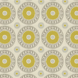 "Ballard Designs - Asha Pewter Fabric by the Yard - Content: 57.5% Polyester, 42.5% Rayon. Repeat: Non-railroaded fabric with 15"" repeat. Care: Dry clean. Width: 54"" wide. Bold Suzani pattern of chartreuse, gray and taupe in a high/low weave of thick poly-rayon  .  .  .  . Because fabrics are available in whole-yard increments only, please round your yardage up to the next whole number if your project calls for fractions of a yard. To order fabric for Ballard Customer's-Own-Material (COM) items, please refer to the order instructions provided for each product.Ballard offers free fabric swatches: $5.95 Shipping and Processing, ten swatch maximum. Sorry, cut fabric is non-returnable."