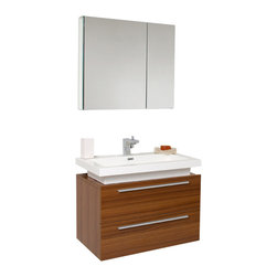 Fresca - Fresca Medio Bathroom Vanity w/ Drawers & Acrylic Countertop, Teak - Striking in its simplicity this vanity offers modern sophistication to your bathroom. This vanity also features a uniquely designed chrome faucet and two pull out drawers for storage.
