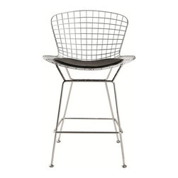 Fine Mod Imports - Fine Mod Imports Wire Counter Height Chair in Black (Set of 2) - Wire stool chair with choice of Black or White seat.