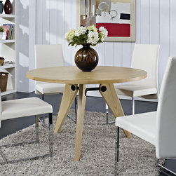 Modway - Laurel Wood Dining Table - Complement your neutrally designed room with this uncomplicated Laurel dining table. Available in either a walnut or natural finish,this mid-century modern style table features a three tapered leg base.