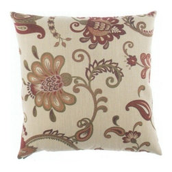"Canaan - 24"" x 24"" Maelle Floral Pattern Throw Pillow - 24"" x 24"" Maelle floral pattern throw pillow with a feather/down insert and zippered removable cover. These pillows feature a zippered removable 24"" x 24"" cover with a feather/down insert. Measures 24"" x 24"". These are custom made in the U.S.A and take 4-6 weeks lead time for production."