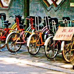 Chinese Bicycles-Beijing, Fine Art Photography Print, 16X24 - Taken August 2008 in Beijing China. I was there for the Summer Olympics. Loved these bicycles all lined up and displaying a rainbow of colors! And like the grainy effect of this picture.