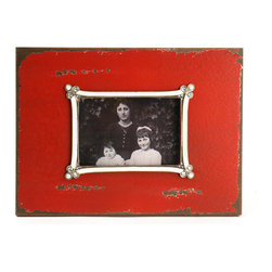 Zentique - Nina Photo Frame - The Nina Photo Frame is an antique red wooden photo frame with a white jeweled border of the window mat.