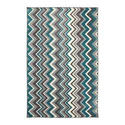 Mohawk Home - New Wave Ziggidy Teal Contemporary Chevron 5' x 8' Mohawk Rug (11681) - Bold zigzags are like graphic art for your floor! With different width stripes and bold colors this rug will shine as the spotlight of your decor.Action Backing