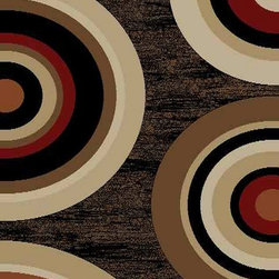 Ottomanson - Black Contemporary Circles Design Rug - Royal Collection offers a wide variety of machine made modern and oriental design area rugs with durable, stain-resistant pile in trendy colors.