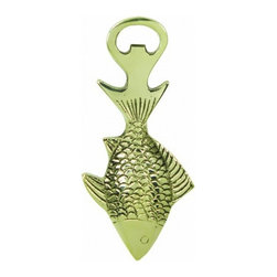 Handcrafted Nautical Decor - Solid Brass Fish Bottle Opener 6'' - The Solid Brass Fish Bottle Opener 6'' is the perfect addition to any beach theme kitchen. This solid brass bottle opener will open even the most     difficult of bottles with ease. This bottle opener is fully functional    and display a brass fish to compliment sea life theme decor. ----    Handcrafted from solid brass by our master artisans --    --    Nautical bottle opener can also be mounted to any wall--    --    Wonderful sealife decoration--