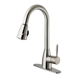 VIGO Industries - VIGO Stainless Steel Pull-Out Spray Kitchen Faucet with Deck Plate - Show your kitchen off by updating the look of it with this stylish, durable VIGO faucet