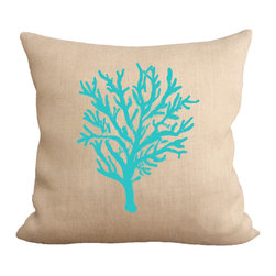 Fiber and Water - Teal Coral Reef Pillow - A bright & nautical depiction of a Coral Reef. Hand-pressed onto natural burlap using water-based inks.