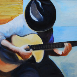 Murals Your Way - Guitar Player 2 Wall Art - Painted by Kristof Kosmowski, the Guitar Player 2 wall mural from Murals Your Way will add a distinctive touch to any room