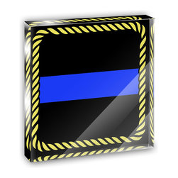 "Made on Terra - Thin Blue Line Mini Desk Plaque and Paperweight - You glance over at your miniature acrylic plaque and your spirits are instantly lifted. It's just too cute! From it's petite size to the unique design, it's the perfect punctuation for your shelf or desk, depending on where you want to place it at that moment. At this moment, it's standing up on its own, but you know it also looks great flat on a desk as a paper weight. Choose from Made on Terra's many wonderful acrylic decorations. Measures approximately 4"" width x 4"" in length x 1/2"" in depth. Made of acrylic. Artwork is printed on the back for a cool effect. Self-standing."
