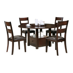 """Steve Silver Furniture - Steve Silver Gibson 6-Piece Drop-Leaf Dining Room Set with Ladderback Chairs - A marriage of form and function, the Gibson Dining Collection, offers a clean, contemporary style with extra storage space options. The versatile Gibson 2-in-1 drop leaf table features a storage base that can be used as a 30"""" table or a 36"""" counter table with the addition of the 6 inch tapered legs. The beautiful table measures 42"""" square or 59"""" round with the drop leaf opened. Surround with any of the matching Gibson chairs, and you have a set that is much more than a place to dine."""