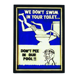 "RAM Gameroom - Swim In Toilet Wall Sign - Swim In Toilet Wall Sign; Material: Resin; Dimensions:H22"" x W16"" x D1"""