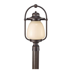 Murray Feiss - Murray Feiss OLPL7408GBZ Mc Coy 20 5 High 1 Light Fluorescent Outdoor Post Lante - As its name suggests the Dockyard outdoor lighting collection is nautically inspired.  The details of the Oil Can finish on the hardware and cage design, along with the decorative ripple in the White Opal Etched glass shade all hark back to the light fixtures seen in harbors and lighthouses of yesterday.