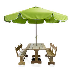 All Things Cedar - All Things Cedar UB33 Patio Umbrella in Tan, Blue, Lime, Lime Green - Large 10 foot umbrella with roman flap design.  8.5 ft x 1.5 in. thick aluminum powder coated 2pc. pole comes with solid brass tilt hold and easy canopy crank.  Rib cage is a heavy duty aluminum 8 spoked cage with reinforced hub.  Canopy is vented for strong wind resistance, made using heavier 220g polyester and is available in 3 colors: Tan, Light Blue, Lime Green.    Dimensions:   120 x 120 x 102 in. (w x d x h)