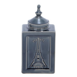 """Benzara - Crackled Jar Beautiful Metallic Shade in Smooth Finish - This enchanting jar comes with a perfectly carved design with visually appealing features befitting a valuable art piece. This attractive jar is designed in a cuboid box type fashion with smoothly finished edges and well-defined contours. At the front is embossed the image of the Eiffel tower that adds to the visual appeal of this jar. The base is rectangular and stably designed to offer good balance to the jar. The attractive metallic shade of this jar is further complemented by the glossy and smooth finish. There is a cute lid that is designed like a curvy dome that is extended at the top to end up in a finial like projection. The jar is made of high quality ceramic to grace your home in style and is embellished with crackled details that epitomize sublime artistry.; Metallic hued jar with glossy finish; Box shaped with beautiful lid; Made of high quality ceramic; Enhances the decor; Weight: 3.88 lbs; Dimensions:7""""W x 4.5""""D x 14""""H"""