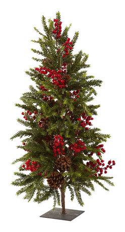 """Nearly Natural - Nearly Natural 36"""" Pine and Berry Christmas Tree - Ok, here's a Christmas tree unlike any other. Standing a cute and compact 36"""" high, this Pine and Berry Christmas Tree is the ideal holiday decoration for those who want something just a little bit different, without sacrificing an ounce of holiday spirit. With a stout trunk, full pine branches, faux pinecones, and lush (imitation) berries, this tree will fill your heart Christmas spirit!"""