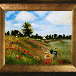 overstockArt.com - Monet - Poppy Field in Argenteuil Oil Painting Oil Painting - Hand painted oil reproduction of a famous Monet painting, Poppy Field in Argenteuil. The original masterpiece was created in 1873. Today it has been carefully recreated detail-by-detail, color-by-color to near perfection. Why settle for a print when you can add sophistication to your rooms with a beautiful fine gallery reproduction oil painting? The famous field path of this northwestern suburb of Paris has been painted by many artists, but none capture the delightful moment of an afternoon stroll as Claude Monet does. In this amazingly colorful oil painting Claude Monet painted his wife and son strolling together among the poppies. While Monet successfully captured life's reality in many of his works, his aim was to analyze the ever-changing nature of color and light. Known as the classic Impressionist, Monet cannot help but inspire deep admiration for his talent in those who view his work. This work of art has the same emotions and beauty as the original. Why not grace your home with this reproduced masterpiece? It is sure to bring many admirers!