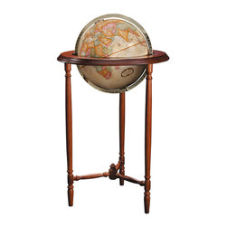 Replogle - Saratoga Floor World Globe - The Saratoga floor world globe features an elegant solid wood floor stand and an  antique-style up-to-date cartography.