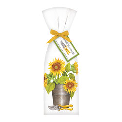 "Mary Lake- Thompson Ltd. - Sunflower Bucket Towel Set - - Set of two flour sack towels- Towel comes with matching ribbon and tag- Great for drying dishes and cleaning up!- Towel 30"" x 30"" featuring beautiful design by artist Mary Lake-Thompson."