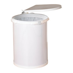 "KV Kitchen & Bath Storage - Swing-Out Wastebin in White - Swing-Out Wastebin.  1 - 32 qt. Bin.  Fits 16 1/2"" (41. 9cm) min. wide opening.  Plastic Component Finish-White.  Metal Component Finish-White. 12.5 in. W x 13 in. D x 19 in. H (6.3 lbs)"