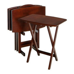 "Winsome - ""Winsome Wood TV Table Set, Walnut"" - ""With Sturdy wooden legs. These tables are oversized to offer extra dining or working surface. Warm walnut finish.Dimensions (W x L x H): 23.6"""" x 15.75"""" x 25.5""""Weight: 9 lbs.These TV Trays are versatile- use them for entertaining or everydayConstructed of solid BeachwoodThis set comes with four tables and one storage rack"""